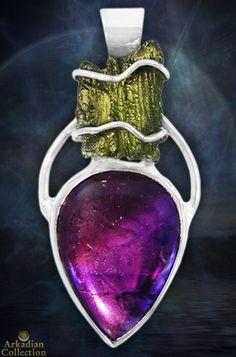 Amethyst & raw moldavite pendant