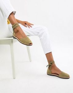 eeaf307243b4d Solillas Exclusive Khaki Suede Ankle Tie Menorcan Sandals
