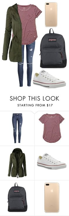 """""""fall outfit for school"""" by fashionblogger2122 on Polyvore featuring H&M, Hollister Co., LE3NO, Converse and JanSport"""