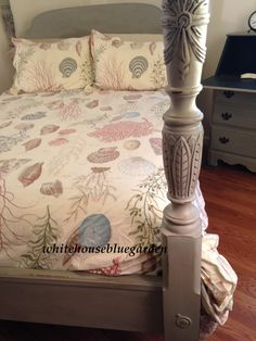 Four Poster Rice Carved Bed Annie Sloan by whitehousebluegarden, $825.00