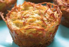 Potato Kugel Cups-The best part about them is that every piece is a crusty corner piece, so nobody has to fight over that coveted crunch .Everyone fought over being served the corners until I started making my kugel in muffin pans! Passover Recipes, Jewish Recipes, Hanukkah Recipes, Israeli Recipes, Passover Food, Israeli Food, Potato Dishes, Potato Recipes, Potato Kugel Recipe