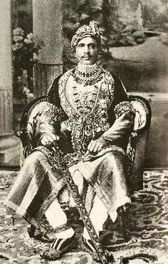 """Maharaja Singh Bahadur of Alwar. Born in 1882. Many formal portraits of Maharajas were made to commemorate the grand """"Durbars"""" between Indian and English royalty."""