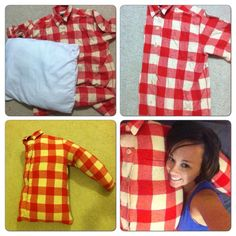 This tutorial probably takes 10 minutes to complete. You willneed Scissors Sewing machine/ needle and thread Button up shirt in the size you want the pillow ( I used an xxl flannel shirtIpicked up at a thrift shop) Stuffing Iused...