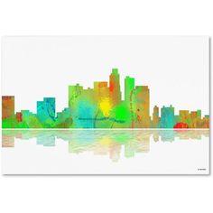 Trademark Fine Art Los Angeles California Skyline Canvas Art by Marlene Watson, Size: 16 x 24, Multicolor