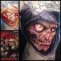 """Paul Acker - """"Late night freehand sesh on @buzcorpse . He asked me to do my rendition of his Living Corpse character from his comic book series. Super fun tattoo. Check out the comic at corpsecomic.com and corpse-crew.com!"""""""