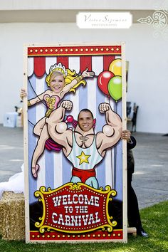 Just your average wedding with a wooden carnival performer cut outs, cotton candy and a ferris wheel!