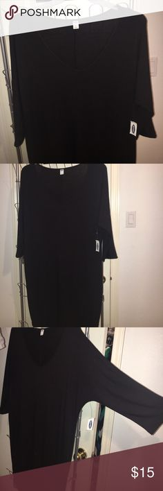 "OLD NAVY LITTLE BLACK DRESS. LARGE. Black, fitted ""shirt"" dress. 3/4 sleeves. V-neck. It's just a simple cute black dress I never wore. I bought it on sale at Old Navy. Still has the tags in it. Size Large. Old Navy Dresses Mini"