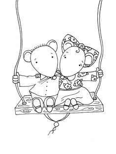Free Dearie Dolls Digi Stamps: Kip and me mousies on swing Colouring Pages, Coloring Pages For Kids, Coloring Sheets, Coloring Books, Digi Stamps Free, Digital Stamps, Hand Embroidery Patterns, Embroidery Designs, Copics