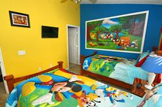 Kid's Disney Themed Room With Mural