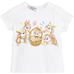 A very sweet white t-shirt for baby girls by Monnalisa. It has a Disney bunnies, flowers and butterflies print with sparkly diamanté embellishments. The t-shirt has a stretch cotton feel and there is a concealed button at the back of the neck for easy dressing.