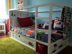 Cute Ikea Kura Bed With Green Carpet
