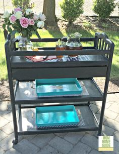 20 DIY Super Creative Storage Solutions Who doesn't need more storage? All of these DIY super creative storage solutions are thrifty and unique ways to add some storage to your… Repurposed Furniture, Painted Furniture, Diy Furniture, Repurposed Items, Outdoor Furniture, Outdoor Decor, Drink Cart, Beverage Cart, Drinks Trolley
