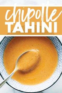 Chipotle Tahini is MAGIC. A creamy tahini base, blended up with garlic and chipotles, and finished with a little orange juice for some sweetness. The best! Ketchup, Chimichurri, Sauce Recipes, Vegan Recipes, Vegan Meals, Detox Recipes, Garlic Juice, Vegan Sauces, Tahini Sauce