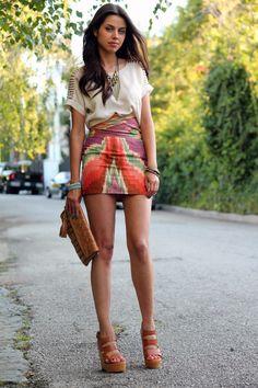 High-waisted mini skirt outfit  http://vivaluxury.blogspot.com/2011/06/first-day-of-summer.html