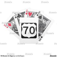 US Route 70 Sign Bicycle Playing Cards