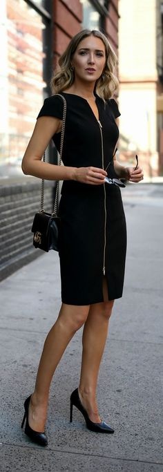 Click for outfit details! Black peplum front zip sheath dress, classic black pumps, oversized sunglasses {Ted Baker, Nordstrom, Saint Laurent, Gucci, workwear, wear to work style, office style}