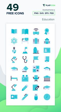 49 Education icons for personal and commercial use. Kiranshastry Flat icons. Download now free icon pack from Flaticon, the largest database of free vector icons. #Flaticon #icons #teacher #education #school #college