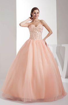 Fresh Salmon Classic Ball Gown Backless Satin Floor Length Sweet 16 Dress