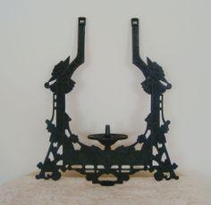Antique 1870s Victorian Bradley & Hubbard Pull-Down Hanging Oil Kerosene Iron Horse Lamp Frame Eastlake Aesthetic B & H