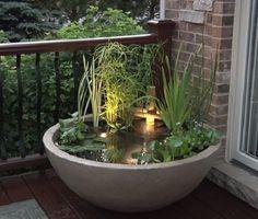 Modern Water Feature, Diy Water Feature, Backyard Water Feature, Japanese Water Feature, Indoor Water Features, Small Water Features, Water Features In The Garden, Patio Pond, Backyard Landscaping