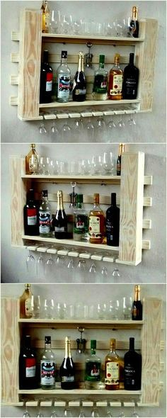 20 Pallets Creative Ways to Furnish a Home With Wood El reciclaje es el acto… Hanging Wine Rack, Wine Rack Wall, Wood Wine Racks, Reclaimed Wood Projects, Reclaimed Wood Furniture, Pallet Furniture, Wooden Pallets, Wooden Diy, Diy Bedroom Decor