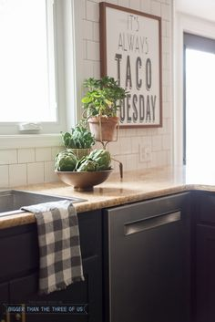 Dark Blue Kitchen With Brass Bar Pulls And Wood Accents And Link To Taco  Print