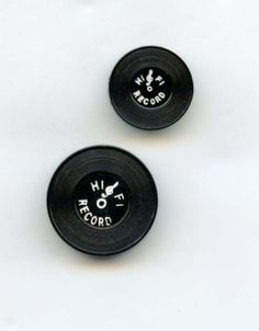 SOLD: 2 Realistic Hi Fi Records buttons vintage plastic buttons