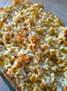 Slim Potato Casserole ~ using Greek yogurt, chicken broth and seasonings ~ missing all the fat but still has great flavor!