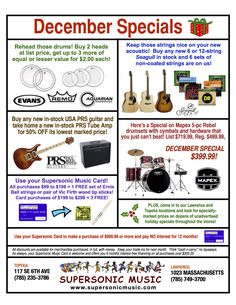 December Holiday Specials at Supersonic Music. Great offers for the musician on your shopping list!