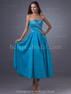 9802d8c0da77 High Quality Cheap A-Line Strapless Tea Length Taffeta Prom Dress from  HeleneBridal is on sale at wholesale prices.
