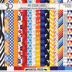 My Zodiac | Aries - Digital Papers by Juno Designs & Amanda Yi
