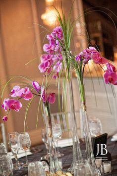 Arts Ballroom wedding reception, Jordan Brian Photography, Magenta Phalaenopsis orchids in Eiffel Tower vases