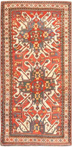Caucasian Kazak rug, eagle motif.