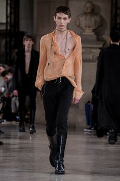A model walks the runway during the Ann Demeulemeester Menswear Fall/Winter 2018-2019 show as part of Paris Fashion Week on January 19, 2018 in Paris, France.