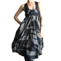 by c.neeon from berlin, graphic screened navy cotton voluminous dress. http://notcouture.notcot.org/page/3/