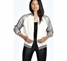 boohoo Ada Sequin Sleeve Bomber Jacket - nude azz26002 Bring a glam side to sporty in this sequinned bomber jacket . Dress it up and team with a crop top , leather-look joggers and pointed courts . http://www.comparestoreprices.co.uk/womens-clothes/boohoo-ada-sequin-sleeve-bomber-jacket--nude-azz26002.asp