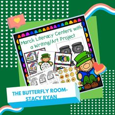 March Literacy Centers with a Writing/Art Project Teacher Resources, Classroom Resources, Teaching Ideas, Rainbow Writing, Kindergarten Art Projects, Rhyming Words, Writing Art, Word Families, Writing Activities