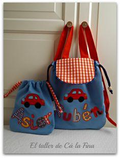 Conjunto de mochila de guardería y bolsita para merienda Rubén y Asier