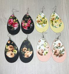 Diy Jewelry Teardrop Faux Leather layered Floral Earrings - **These are not real leather. Diy Leather Earrings, Leather Jewelry, Crystal Earrings, Beaded Earrings, Gold Earrings, Teardrop Earrings, Beaded Jewelry, Diy Schmuck, Schmuck Design