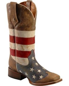 Roper American Flag Cowboy Boots - Square Toe | Sheplers