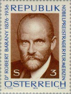 Stamp: Birth Centenary of Dr. Robert Bárány (Austria) (Physicians) Mi:AT 1527 Austria, Doctor Robert, Nobel Prize Winners, Postage Stamps, Literature, Medicine, Album, History, Inventors