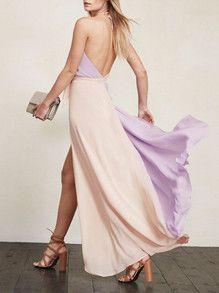 Purple Apricot Halter Color Block Maxi Dress -SheIn(Sheinside)