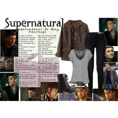 Day 1: Dean Winchester by fashion-nova on Polyvore featuring Barbour, rag & bone, Charlotte Russe and Revolver