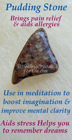 Use in meditation to boost imagination & mental clarity. Helps you remember dreams. Healing Crystals For You, Crystal Healing Stones, Crystals And Gemstones, Stones And Crystals, Gem Stones, Third Eye, Pudding Stone, Diy Craft Projects, Positive Energie
