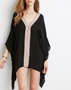 Black Batwing Sleeve Tribal Dress 18.49