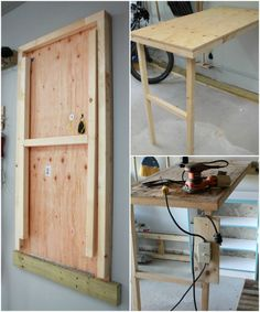 Friday Favorites: Playrooms and Pantries and Bunny Butts DIY fold-up work table for the garage with power switch Turtles and Tails Murphy Table, Murphy Bed, Fold Up Table, Armoire En Pin, Diy Garage Storage, Diy Desk, Diy Home Improvement, Diy Table, Craft Tables