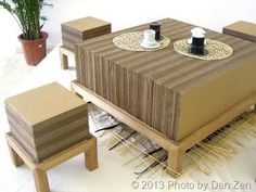 cardboard furniture stacked stool table