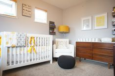 Inspiration for third bedroom nursery. Gray wall, paint crib white, midcentury dresser looks similar to what we have. Yellow could be changed out for red, blue, pink