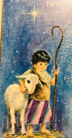 Mid Century Vintage Christmas Card~A Child's Faith~Best Poem Ever~Shepherd Boy Christmas Canvas, Christmas Scenes, Christmas Nativity, Christmas Past, Christmas Ornaments, Christmas Stuff, Christmas Ideas, Vintage Greeting Cards, Vintage Christmas Cards