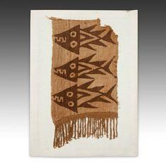 RE-COLUMBIAN TEXTILE FRAGMENT DEPICTING FISH, MOUNTED CHANCAY CULTURE PERU, SOUTH AMERICA 1100-1450 WOOL 26.5'' W x 1'' W x 19.5'' L Textile Design, Textile Art, Native American Animal Symbols, Ancient Peruvian, Graph Paper Drawings, Cultural Patterns, Colombian Art, Peruvian Textiles, Weaving Designs